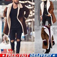 US Men's Wool Coat Winter Warm Trench Coat Outwear Overcoat Long Sleeve Jacket