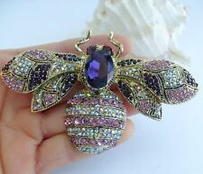 "3.94"" Purple Rhinestone Crystal Honeybee Insect Brooch Pin Pendant 06608C4"