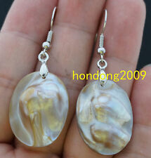Natural 13x18mm OVAL MOP Mother Of Pearl Shell Dangle Earring