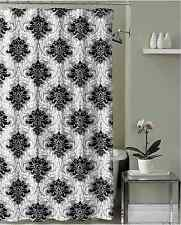 Black Grey White Embossed Fabric Shower Curtain: Floral Damask Design