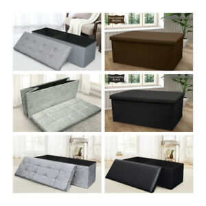 One or Two Seater Ottoman Storage Box Foldable Toy Blanket Box Footstool Pouffe