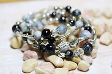 Black Moss Agate Wrap Bracelet Silver Beads Glass Bohemian Grey Natural Stone 1
