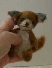 """OOAK bear fox artist made/mohair/5"""" miniature teddy bear hand made"""