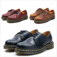 Dr Martens 3-Eye 1461 Smooth Leather Shoes Black Red Crazy Horse Unisex UK3-11