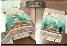 Minecraft 2-In-1 Sherpa Back Duvet Cover or Twin Sherpa Blanket winter theme