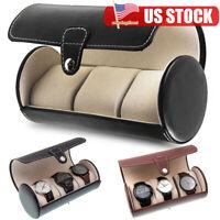 3 Slot Round Watch Storage Organizer Case Leatherette Roll Great Watch Case US