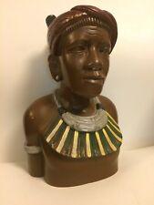 Vintage carved wood Amazon Inca Maori Easter Island wooden Statue w/ gauged ears
