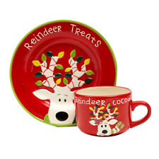 Christmas Cookies & Cocoa For Santa Gift Snack Plate and Cup Set (Santa)