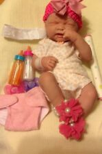 "FIRST TEARS REBORN BABY PREEMIE SIZED 14"" GIRL DOLL W CLOTHING BOTTLES PACIFIER"