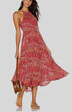 Free People Seasons In The Sun Printed Slip Dress Red Combo Small