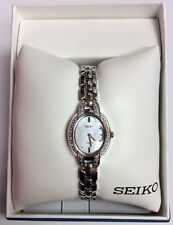SEIKO New Women's TRESSIA Two-Tone Solar Powered MOP Dial Diamond WATCH SUP325