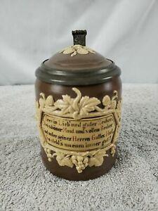 Antique Mettlach German Beer Stein Villeroy Boch .5L 1180 Hops Vines With Saying