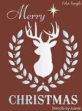 Joanie STENCIL Merry Christmas Buck Deer Nativity Star Rustic Cabin Lodge Signs