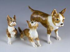 Vintage Bone China Miniature Set of 3 Family Boxer Dog Figurines Shiken Japan