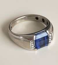 Men's Ring 10K White GOLD with Blue SAPPHIRE and 6 DIAMOND Accents in 925 Size 8