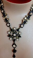 M. Nigrin Necklace Brass With Blk Stones Fliwers Pink Stones