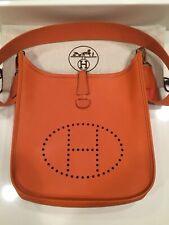 HERMES Orange Epsom Leather Evelyne