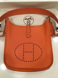HERMES Orange Epsom Leather Evelyne PM Crossbody Messenger Bag