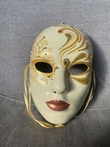Collectable Pretty Hand painted Face Masks Signed c Williamson Beautiful Gold