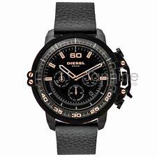 Diesel Authentic Watch DZ4409 Deadeye Black Dial Black Leather Strap 51mm Chrono