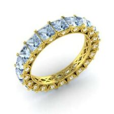 3.75 Ct Aquamarine Eternity Wedding Band 14K Yellow Gold Diamond Ring Size M N O