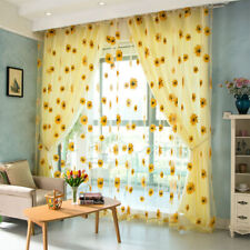 1x Delicate Sunflower Tulle Curtain Voile Floral Window Blind Screening Curtain