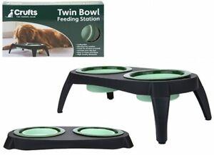 Pet Dog Twin Bowl Feeding Station Double Raised Elevated Folding Travel Feeder