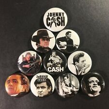 "Johnny Cash 1"" Button Pin Set Classic Country Singer Guitar Icon Folsom Rock"