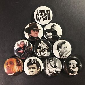 """Johnny Cash 1"""" Button Pin Set Classic Country Singer Guitar Icon Folsom Rock"""