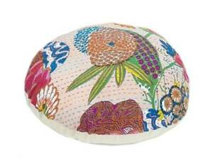 "New 20"" Indian Handmade Kantha Round Floor Cushion Cover Home Decorative Beige"