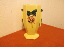 "VINTAGE Mc COY CREAMIC SHINNY GLASE HAND DECORATED  6 "" VASE OR PLANTER"