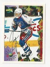 1994 Score Autographed Hockey Card Jamie Langenbrunner Team USA