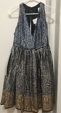 NEW ASOS Sequin Paneled Fit & Flare Sleeveless Dress Size 8 Blue Grey Gold Shiny