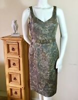 Teri Jon Rickie Freeman Womens Size 6 Metallic Texture Belted Cocktail Dress