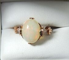 Opal And Diamond 10k Rose Gold Floral Ring sz 6.25 9mm x 12mm