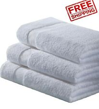 12 new white 100% cotton bath towels econ grade 20x40 empuror hotel collection