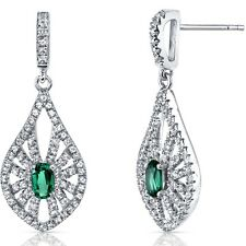 14K White Gold Created Emerald Chandelier Earrings 0.50 Carats