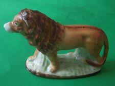 Antique Staffordshire Slip Cast Porcelain Standing Lion Figurine Handpainted