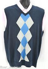MENS IZOD V-NECK Sweater Vest Argyle Golf Sleeveless knit top Blue cotton SIZE L