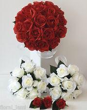 White Cream Rose Posy Silk Wedding Bouquet Fake Bridal Flower