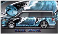 Blue wave hibiscus go kart race car vinyl graphic decal half wrap