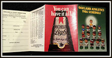 1986 OAKLAND A'S ATHLETICS MICHELOB LIGHT BEER BASEBALL POCKET SCHEDULE
