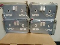 4 x Metal Clad 2 Gang 13A Double Pole Switched Socket Industrial Socket