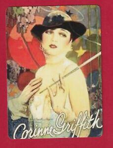 Art Deco Lady Wearing a Black Hat -  Modern Wide Linen Swap Playing Card