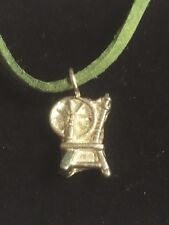 """Spinning Wheel TG306A Fine English Pewter On 18"""" Green Cord Necklace"""