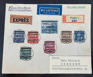 1939 Prague Bohemia Moravia Germany Express Airmail Registered Cover To Dresden