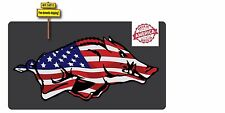 """Arkansas Razorback Hogs With USA Flag Decal/Sticker 5"""" Wide American Hunting p98"""