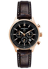 Jorg Gray Unisex JG6500-22 Black Dial Chronograph Brown Leather Band Rose Watch