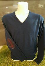 Maglia blu uomo scollo a V con toppe Pullover misto Cashmere Taglia 54