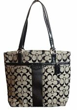 ♥ COACH SIGNATURE STRIPE 12CM TOTE HANDBAG BAG BLACK F28504